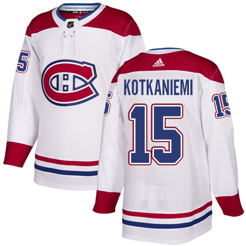 Montreal Canadiens #15 Jesperi Kotkaniemi Adidas White Away Authentic NHL Jersey