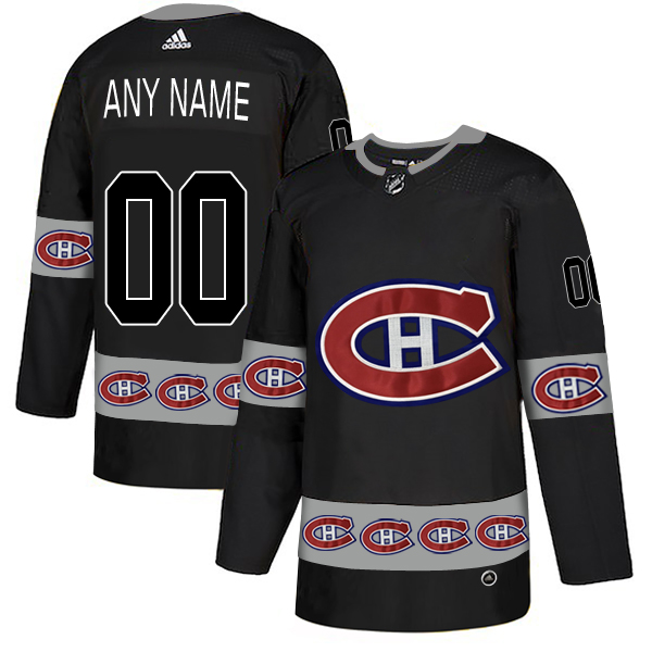 Montreal Canadiens Black Men's Customized Team Logos Fashion Adidas Jersey