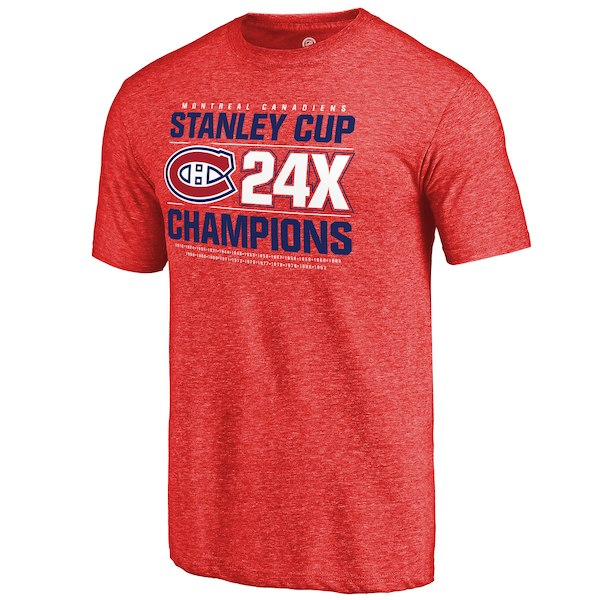 Montreal Canadiens Fanatics Branded Red Victor Tri Blend T-Shirt