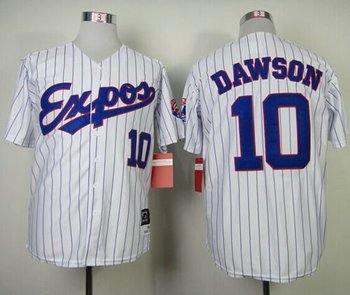 Montreal Expos #10 Andre Dawson White Blue Strip Mitchell and Ness 1982 Throwback Baseball Jersey