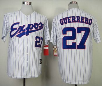Montreal Expos #27 Vladimir Guerrero White Blue Strip Mitchell and Ness 2000 Throwback Baseball Jersey