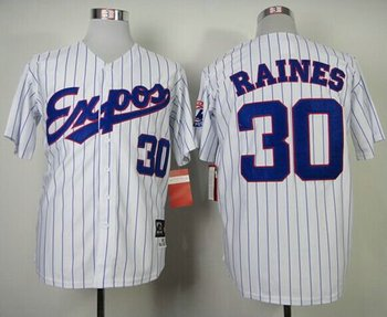 Montreal Expos #30 Tim Raines White Blue Strip Mitchell and Ness 1982 Throwback Baseball Jersey