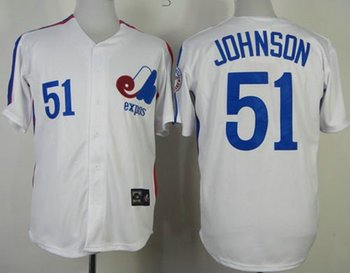Montreal Expos #51 Randy Johnson White Mitchell And Ness Throwback Baseball Jersey
