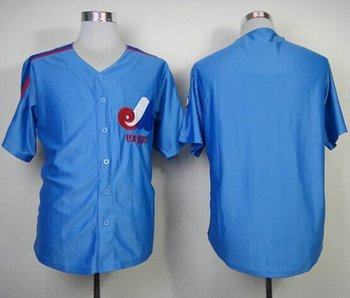 Montreal Expos Blank Blue Mitchell And Ness Throwback Baseball Jersey