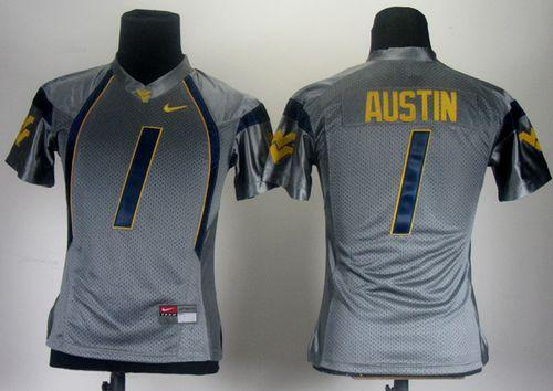 Mountaineers #1 Tavon Austin Grey Women's Stitched NCAA Jersey