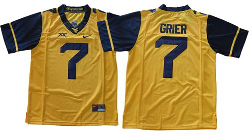 Mountaineers #7 Will Grier Gold Limited Stitched NCAA Jersey