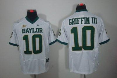 NCAA Baylor Bears 10# Robert Griffin III White Color Jerseys
