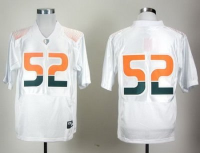 NCAA Miami Hurricanes 52# Ray Lewis White Pro Combat College Football Jersey