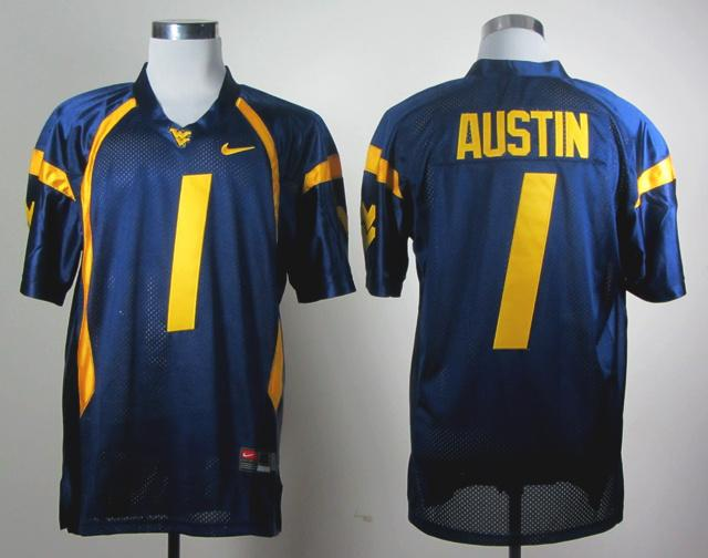 NCAA NEW West Virginia Mountaineers Tavon Austin #1 blue WVU jersey