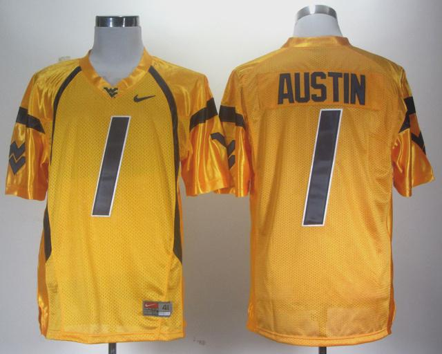 NCAA NEW West Virginia Mountaineers Tavon Austin #1 gold WVU jersey