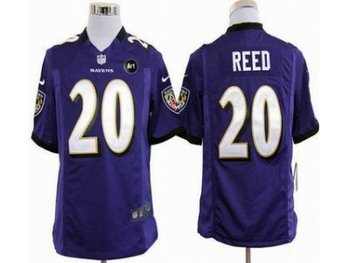 NEW Baltimore Ravens #20 Ed Reed purple jerseys(Game Art Patch)