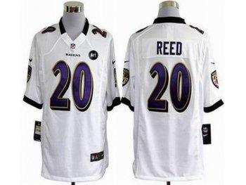 NEW Baltimore Ravens #20 Ed Reed white jerseys(Game Art Patch)