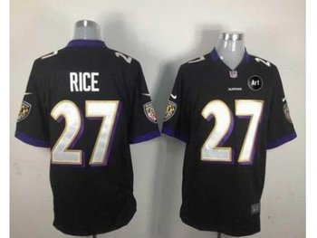 NEW Baltimore Ravens #27 ray rice black jerseys(Game Art Patch)