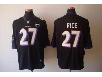 NEW Baltimore Ravens #27 ray rice black jerseys(Limited Art Patch)
