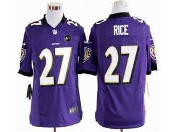 NEW Baltimore Ravens #27 ray rice purple jerseys(Game Art Patch)