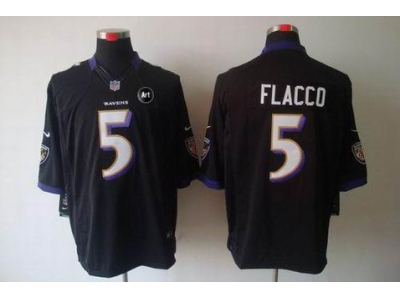 NEW Baltimore Ravens #5 Joe Flacco black jerseys(Limited Art Patch)