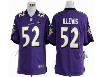 NEW Baltimore Ravens #52 Ray Lewis purple jerseys(Game Art Patch)