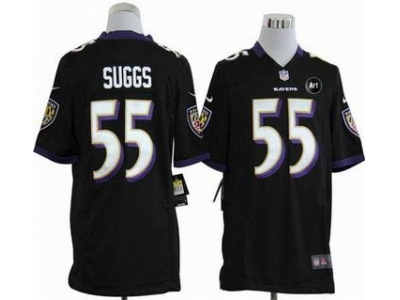 NEW Baltimore Ravens #55 Terrell Suggs black jerseys(Game Art Patch)