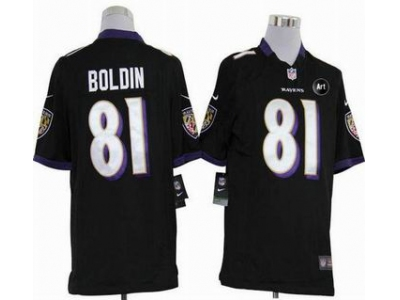 NEW Baltimore Ravens #81 Anquan Boldin Black jerseys(Game Art Patch)