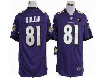 NEW Baltimore Ravens #81 Anquan Boldin purple jerseys(Game Art Patch)