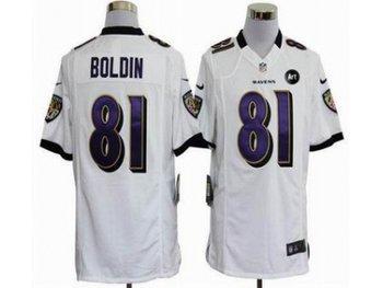 NEW Baltimore Ravens #81 Anquan Boldin white jerseys(Game Art Patch)
