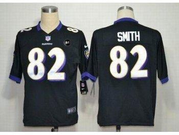 NEW Baltimore Ravens #82 Torrey Smith Black jerseys(Game Art Patch)