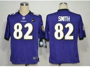 NEW Baltimore Ravens #82 Torrey Smith purple jerseys(Game Art Patch)