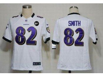 NEW Baltimore Ravens #82 Torrey Smith white jerseys(Game Art Patch)