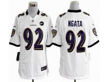 NEW Baltimore Ravens #92 Haloti Ngata white jerseys(Game Art Patch)