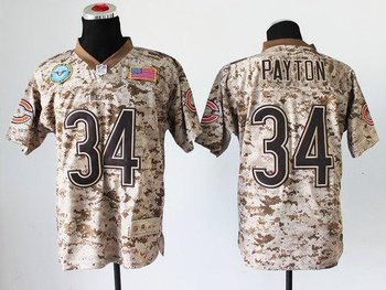 NEW Chicago Bears #34 Walter Payton Camo NFL Elite USMC Jersey(USA)