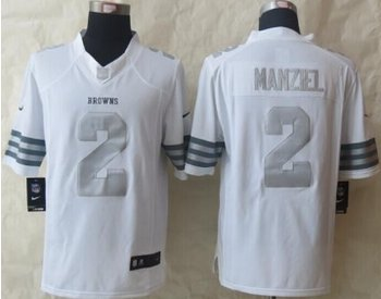 NEW Cleveland Browns #2 Johnny Manziel White NFL Limited Platinum Jersey