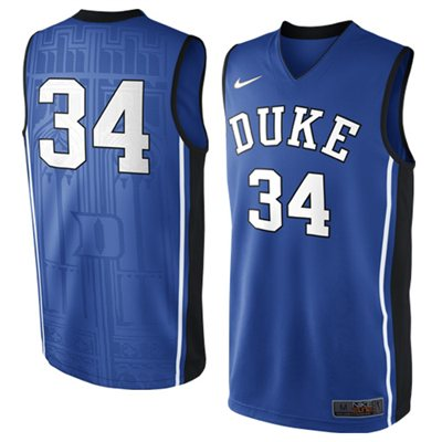 NEW Duke Blue Devils #34 Elite Replica Basketball Jersey - Duke Blue