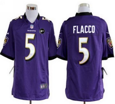 NEW NFL Baltimore Ravens 5 Joe Flacco Purple Jerseys With Art Patch(Game)
