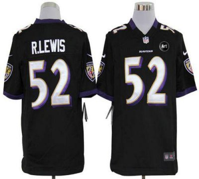 NEW NFL Baltimore Ravens 52 Ray Lewis Black Jerseys With Art Patch(Game)