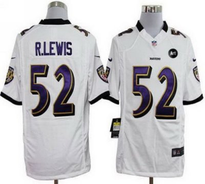 NEW NFL Baltimore Ravens 52 Ray Lewis White Jerseys With Art Patch(Game)