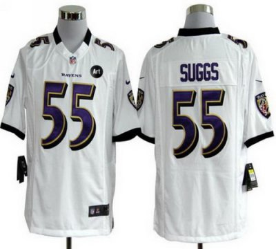 NEW NFL Baltimore Ravens 55 Terrell Suggs White Jerseys With Art Patch(Game)
