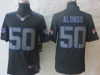 NEW NFL Buffalo Bills 50 Kiko Alonso Black Jerseys(Impact Limited)