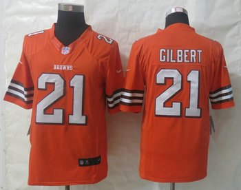 NEW NFL Cleveland Browns #21 Justin Gilbert Orange Limited Jersey