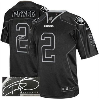 NEW Oakland Raiders #2 Terrelle Pryor Lights Out Black Jerseys(Signed Elite)