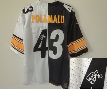NEW Pittsburgh Steelers #43 Troy Polamalu White-Black Split Signed Elite NFL Jerseys