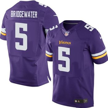 NEW Vikings #5 Teddy Bridgewater Purple Team Color Men's Stitched NFL Elite Jersey