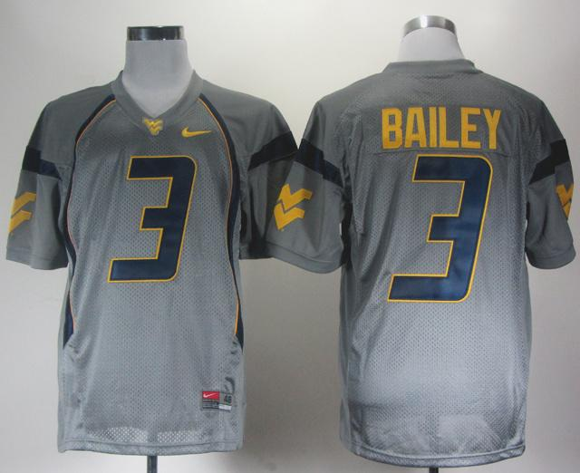 NEW West Virginia Mountaineers Stedman Bailey 3 Grey College Football Jerseys