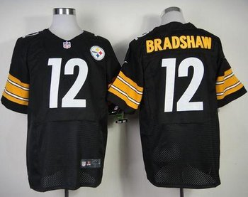 NEW Pittsburgh Steelers #12 Terry Bradshaw Black Team Color NFL Elite Jersey