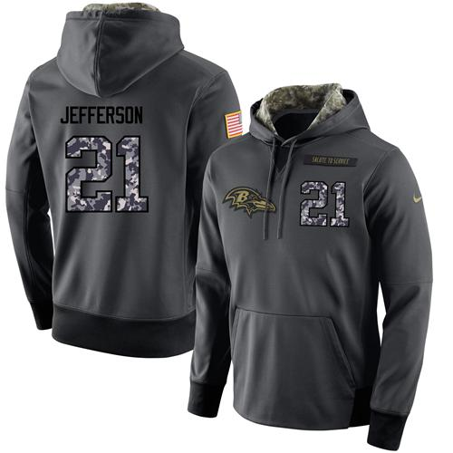 NFL Men's Nike Baltimore Ravens #21 Tony Jefferson Stitched Black Anthracite Salute to Service Player Performance Hoodie