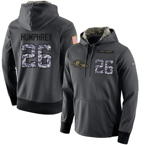 NFL Men's Nike Baltimore Ravens #26 Marlon Humphrey Stitched Black Anthracite Salute to Service Player Performance Hoodie
