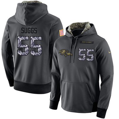 NFL Men's Nike Baltimore Ravens #55 Terrell Suggs Stitched Black Anthracite Salute to Service Player Performance Hoodie