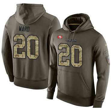 NFL Men's Nike San Francisco 49ers #20 Jimmie Ward Stitched Green Olive Salute To Service KO Performance Hoodie