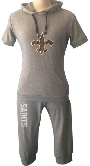 NFL New Orleans Saints women's Hooded sport suit Grey