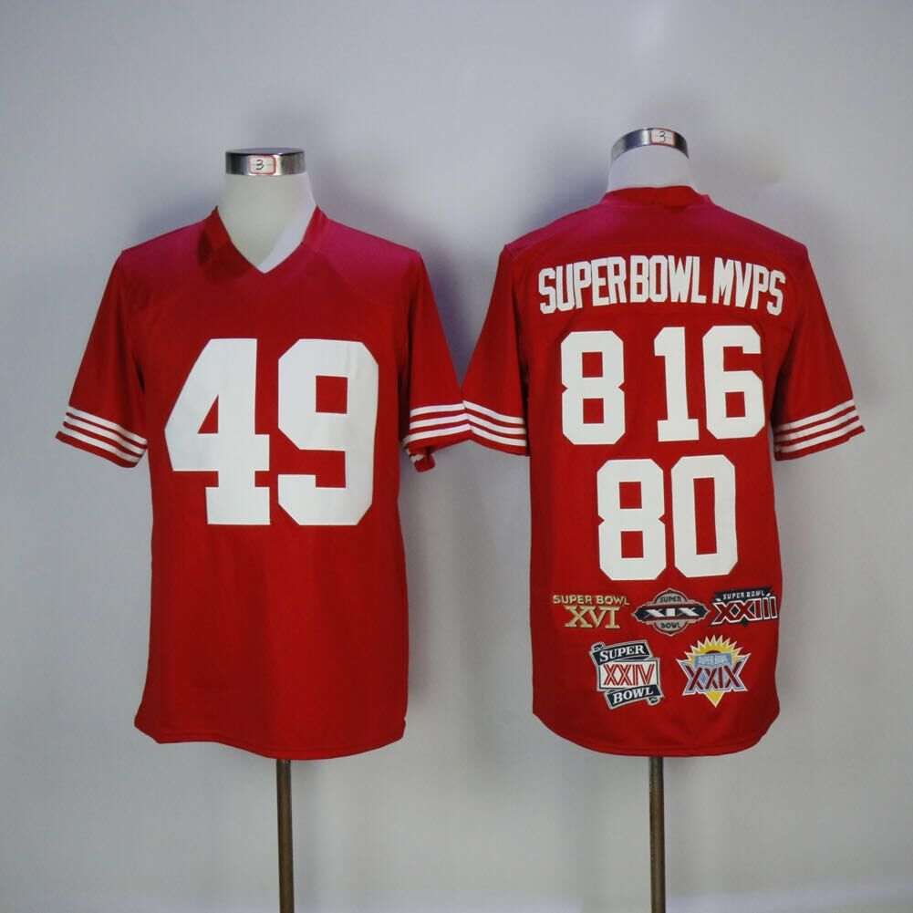 NFL San Francisco 49ers 8 16 80 49 Super Bowl MVPS Football Red Men Jersey