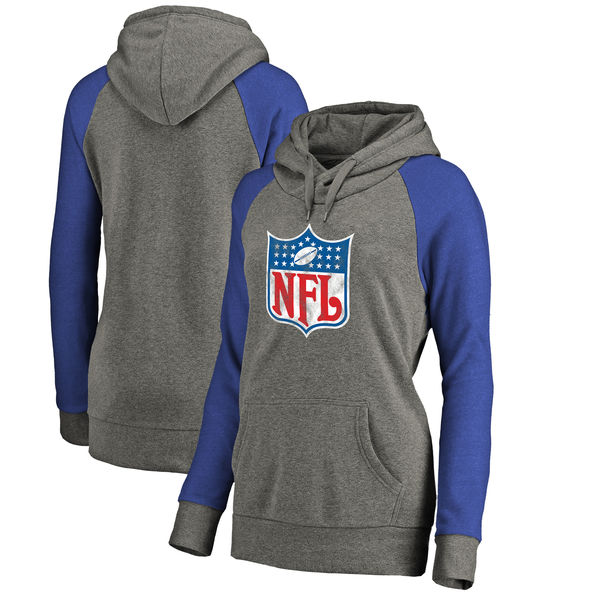 NFL Shield NFL Pro Line By Fanatics Branded Women's Throwback Logo Tri-Blend Raglan Plus Size Pullover Hoodie Heather Gray Royal